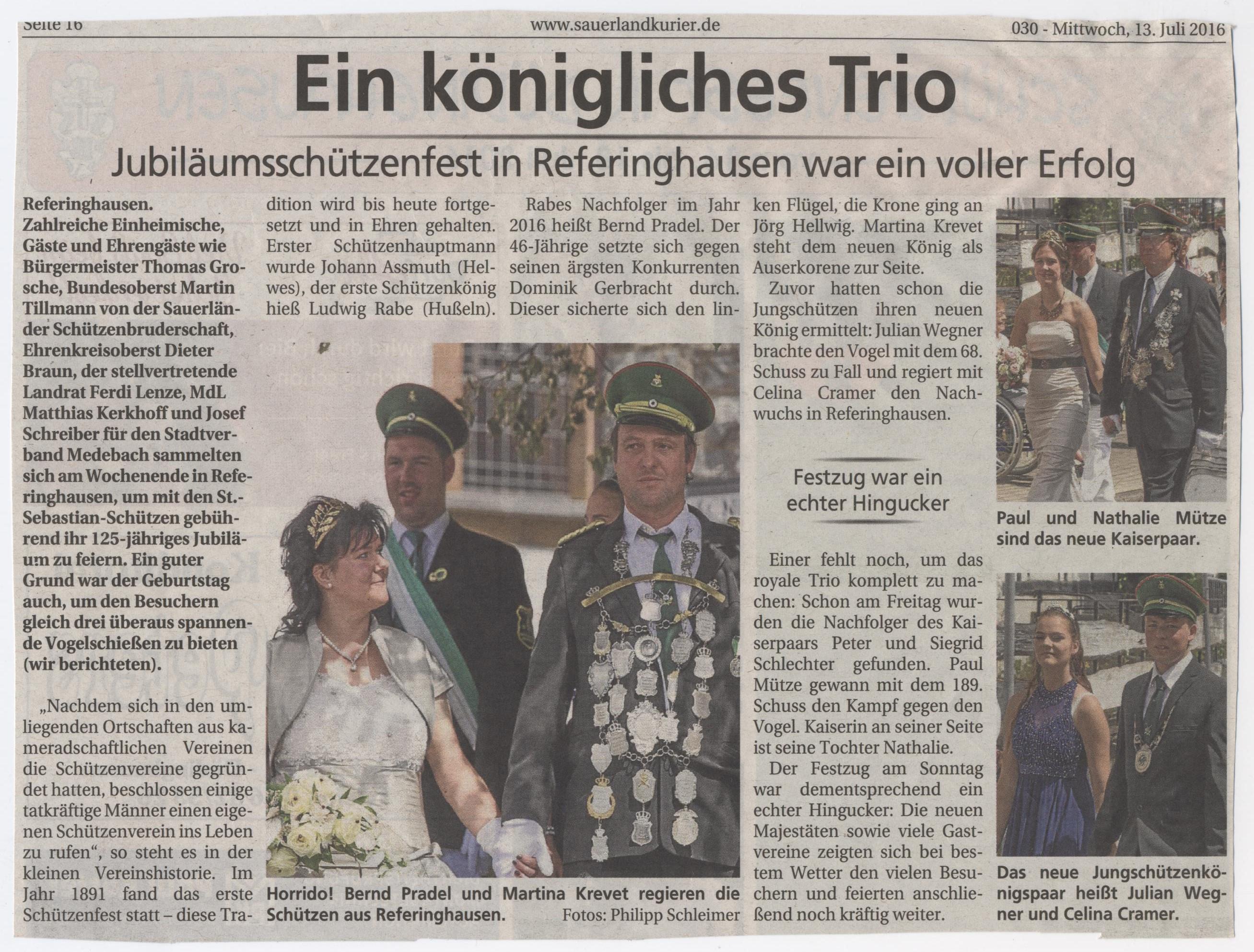 Ein königliches Trio- Jubiläumsschützenfest