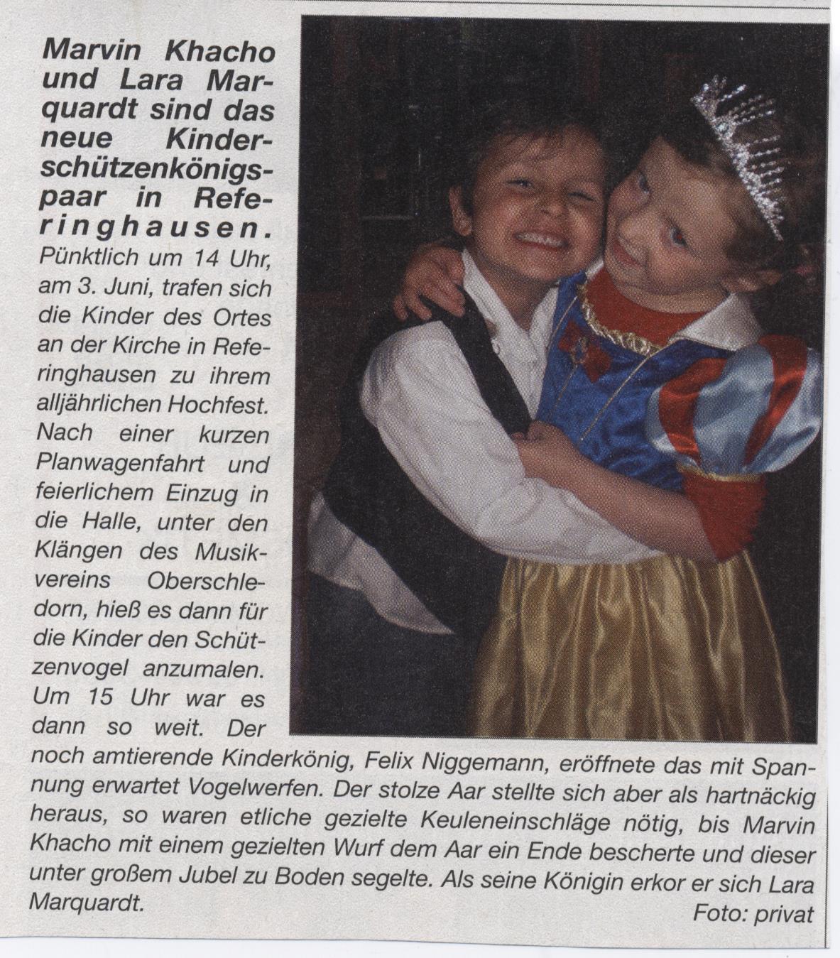 Kinderschützenkönigspaar Marvin und Lara