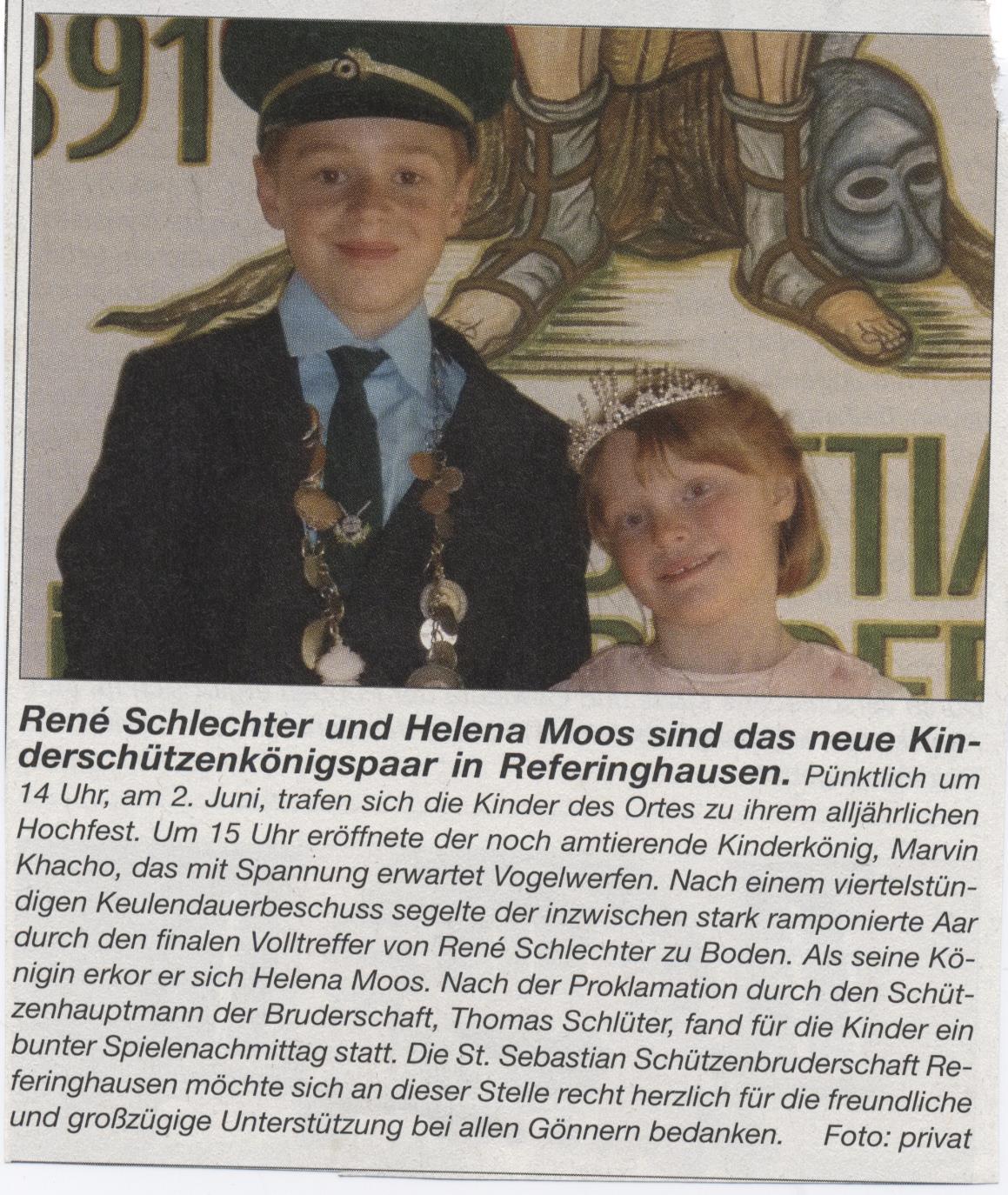 Kinderschützenkönigspaar René und Helena
