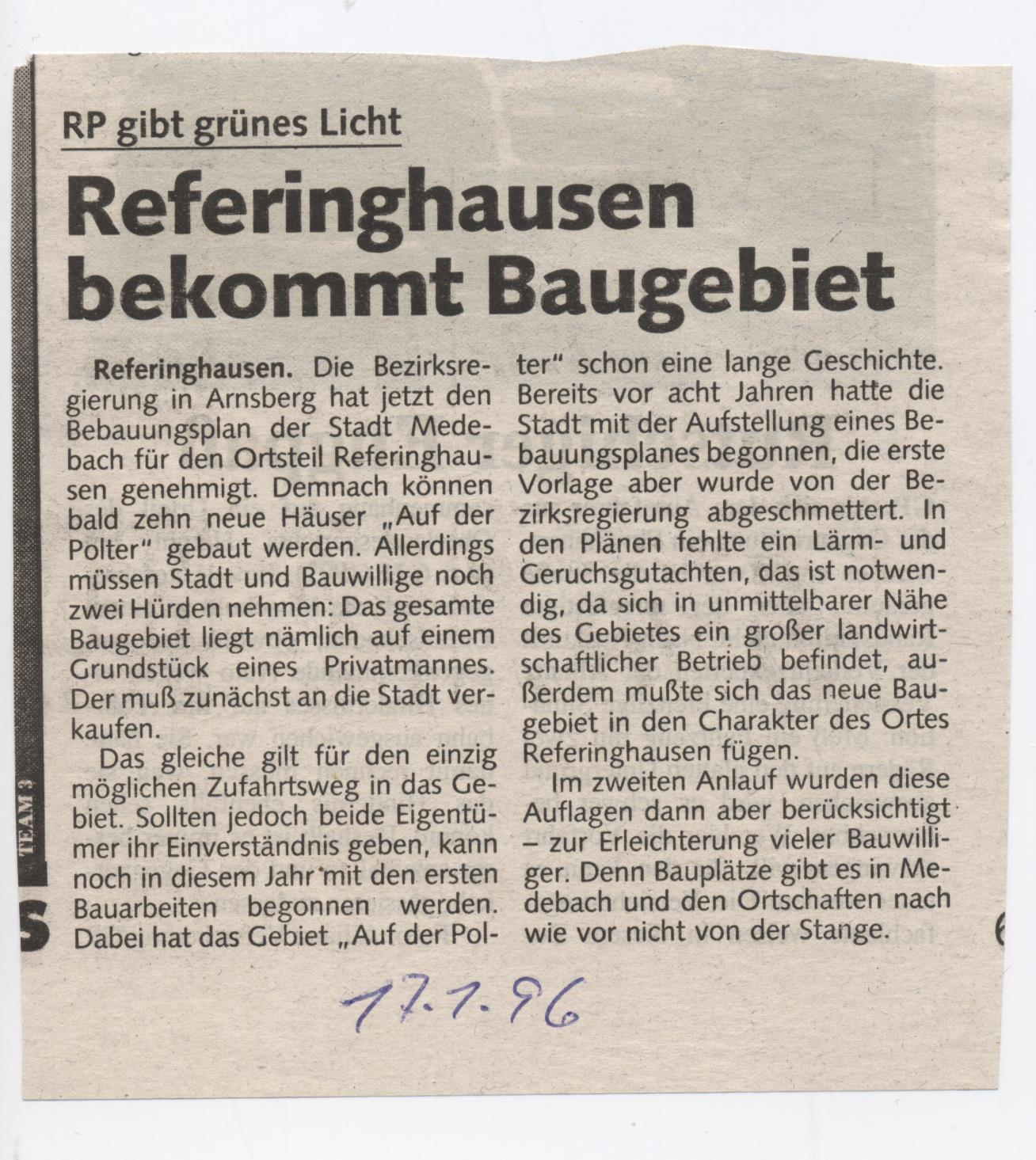 Referinghausen bekommt Baugebiet