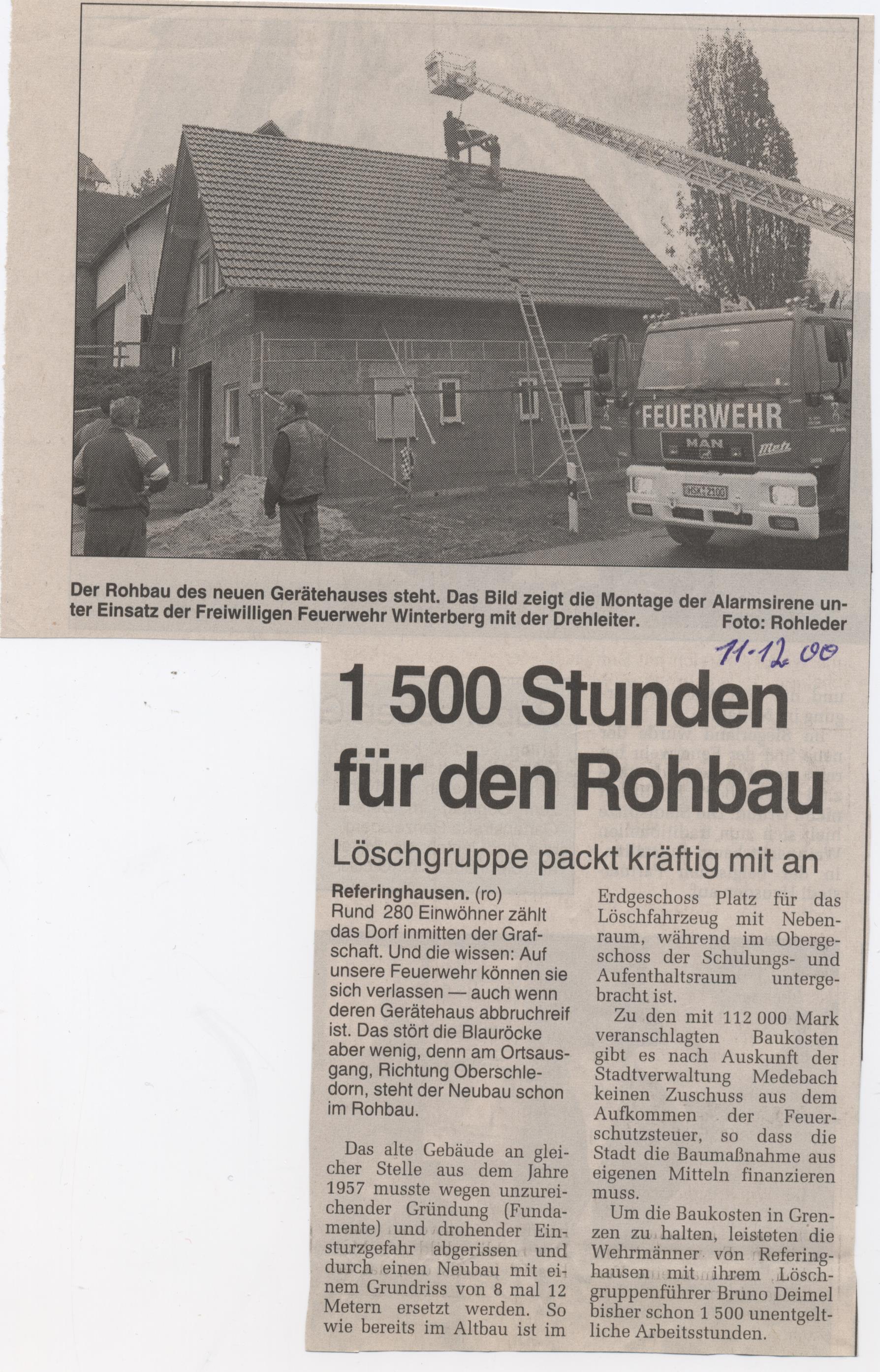 1500 Stunden Rohbau Feuerwehrhaus
