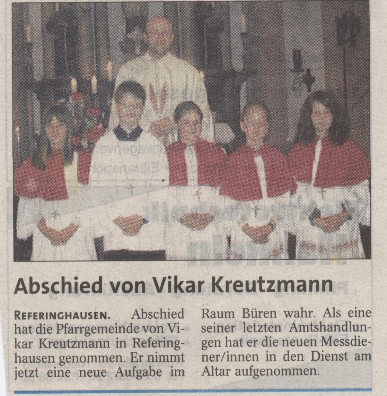 Abschied von Vikar Kreutzmann