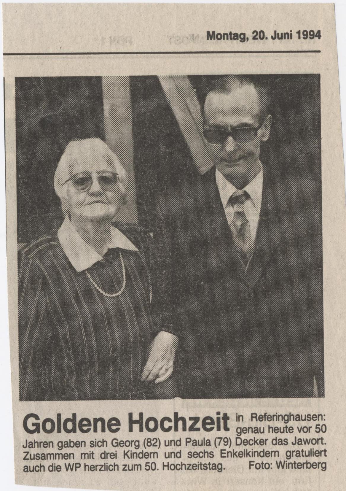 Goldene Hochzeit Georg und Paula Decker