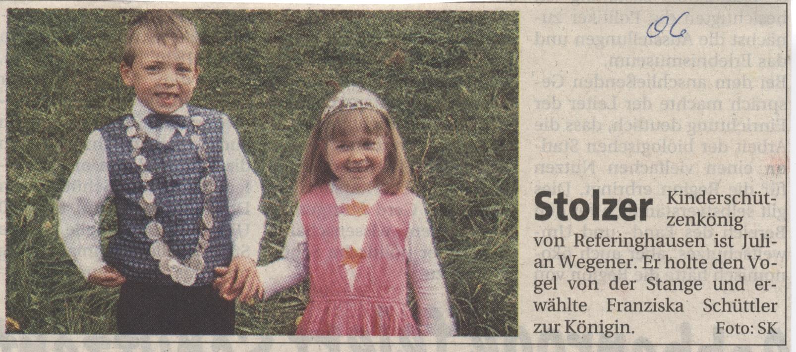 Kinderschützenkönigspaar Julian und Franziska
