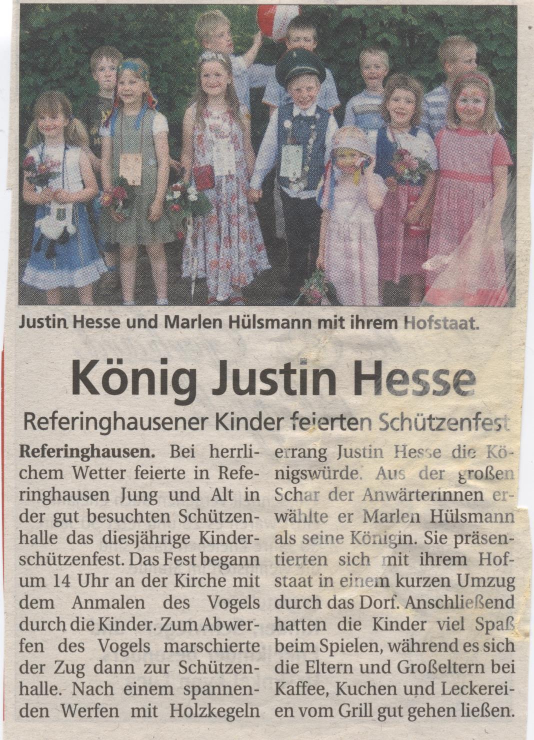 Kinderschützenkönigspaar Justin und Marlen