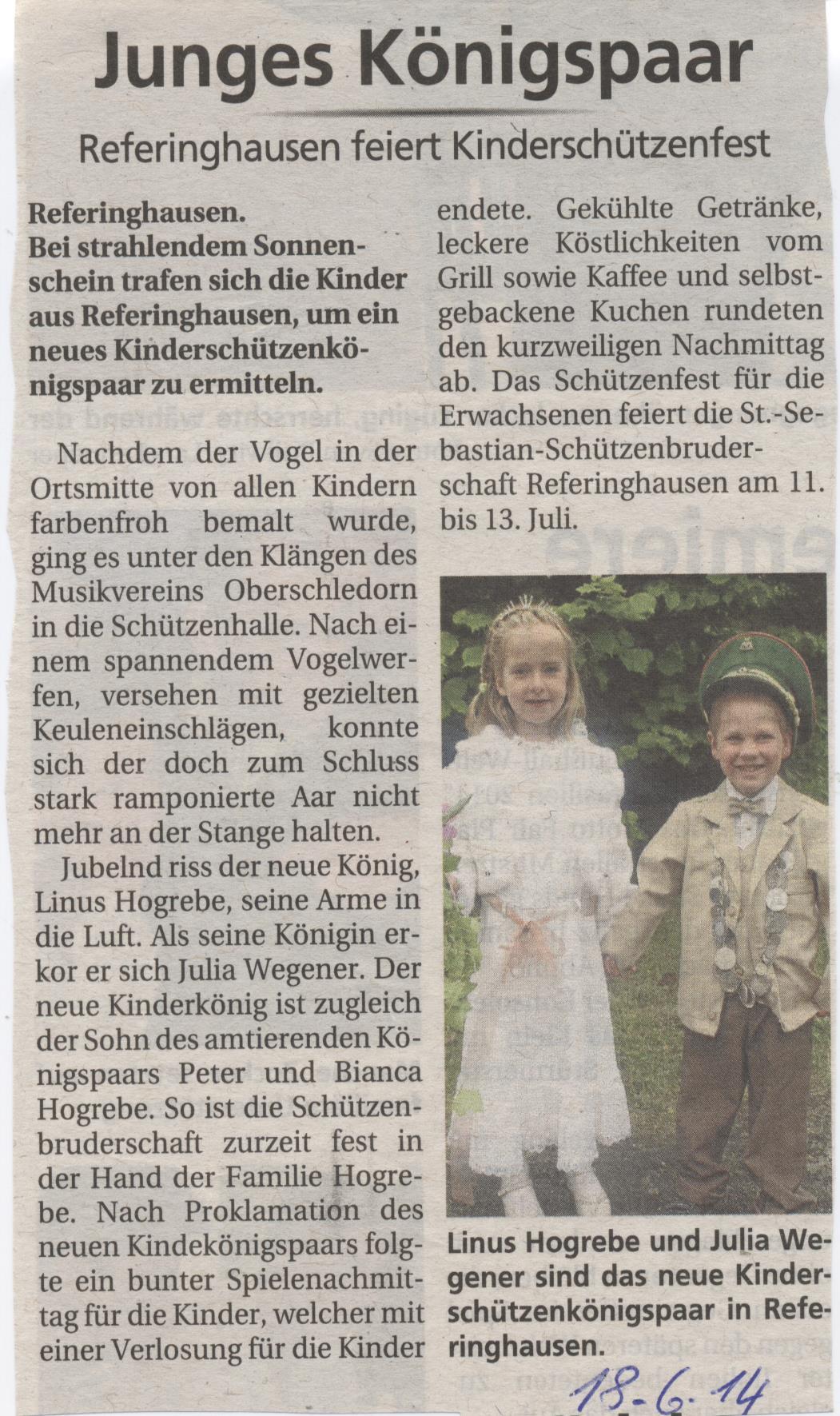Kinderschützenkönigspaar Linus und Julia