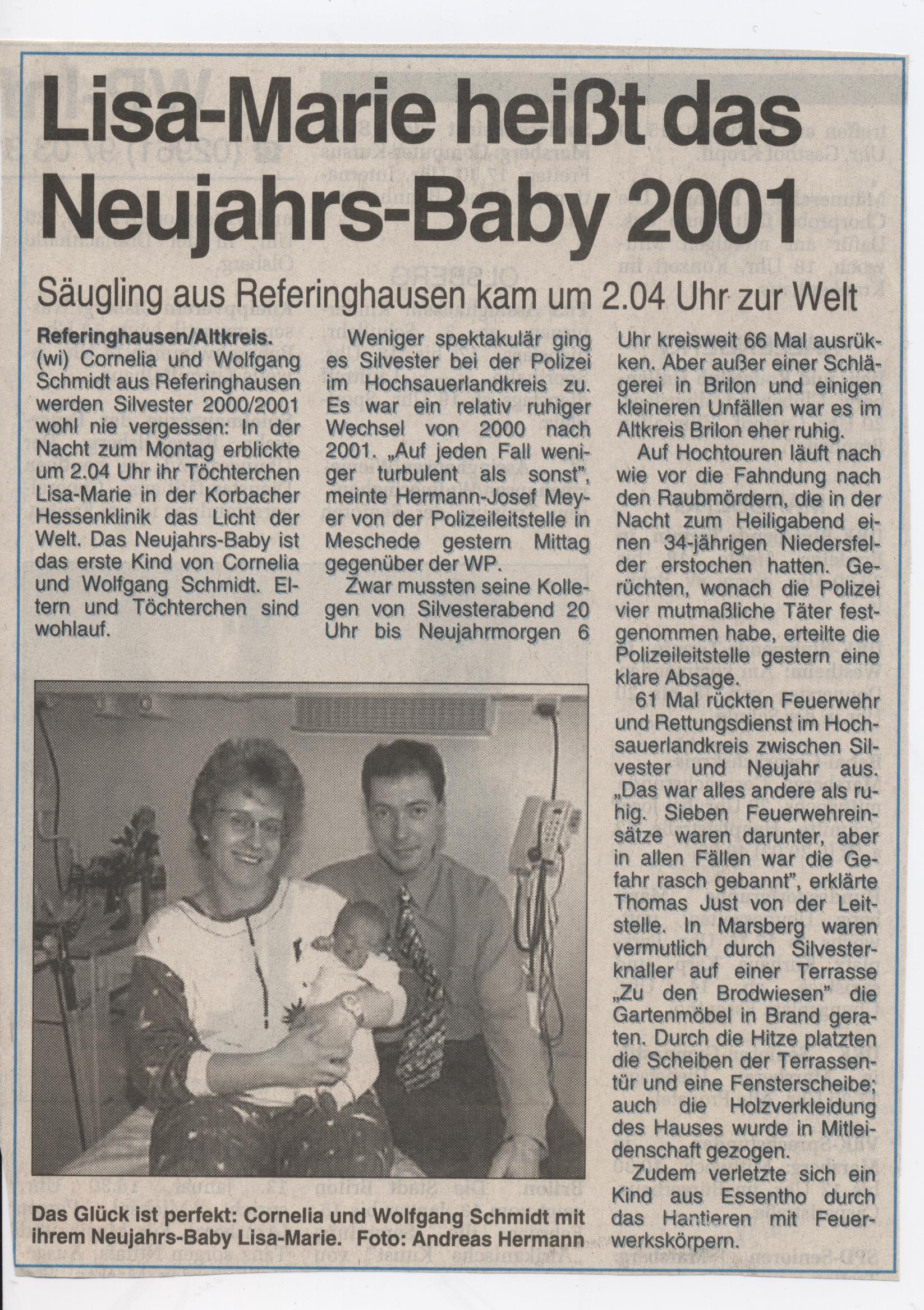 Lisa-Marie Neujahresbaby
