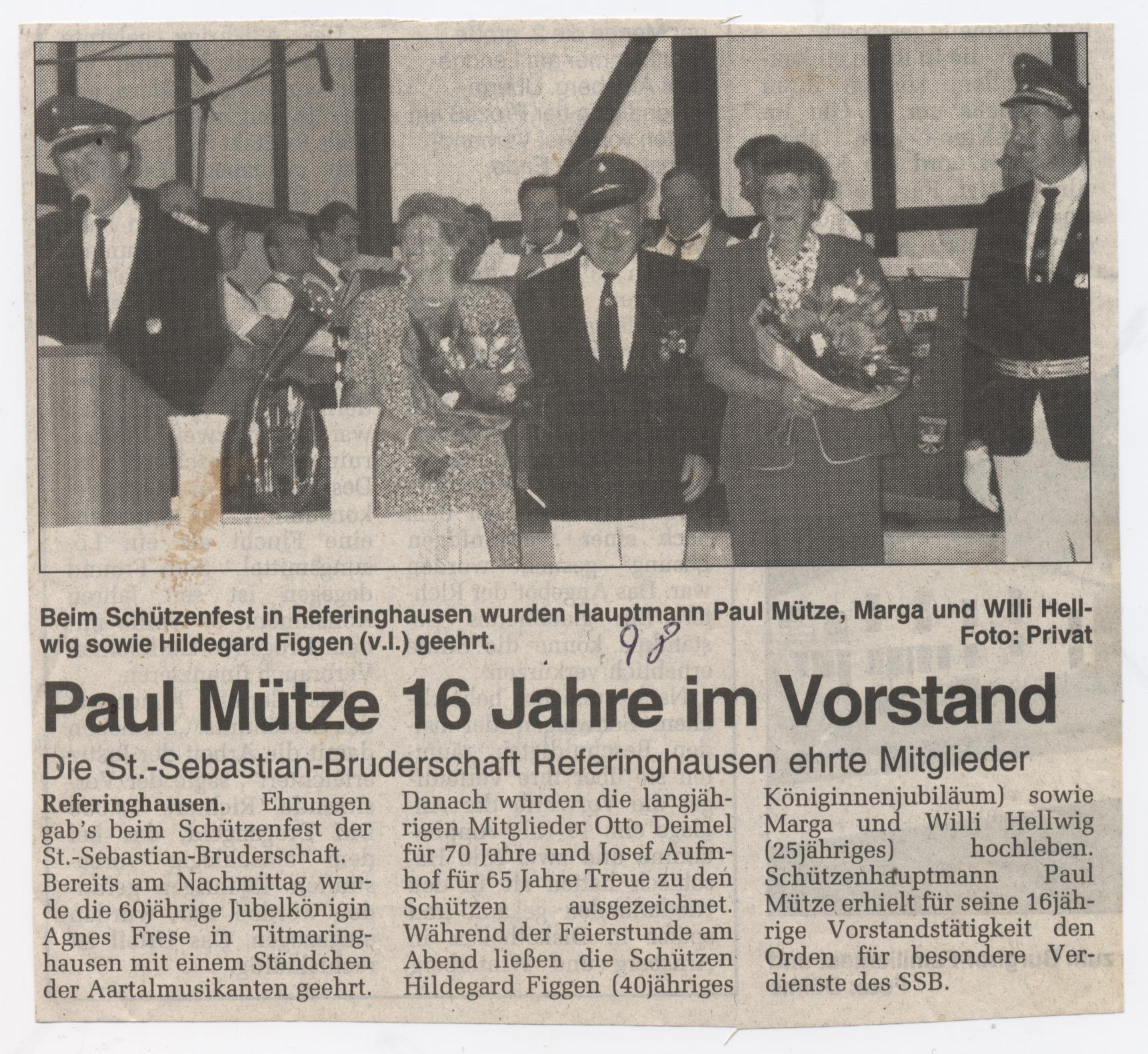 Paul Mütze 16 Jahre im Vorstand