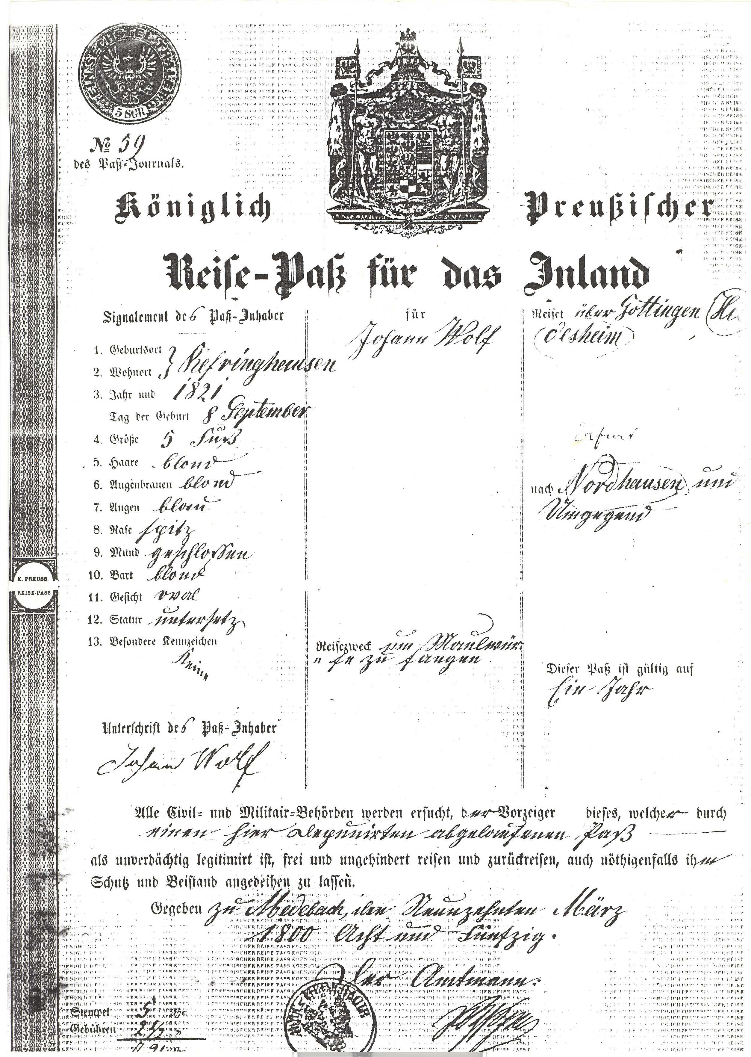 Reisepass von 1850