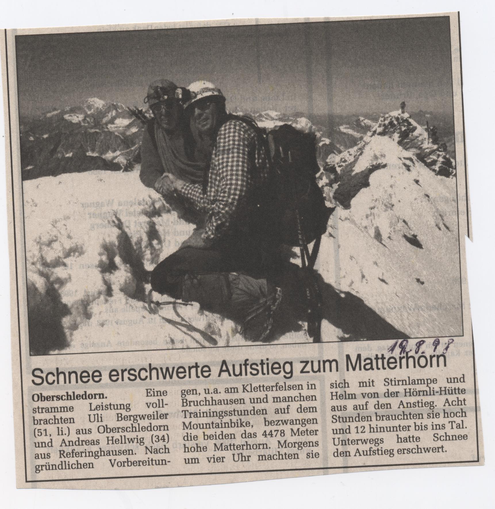 Schenn erschwerte Aufstieg zum Matterhorn