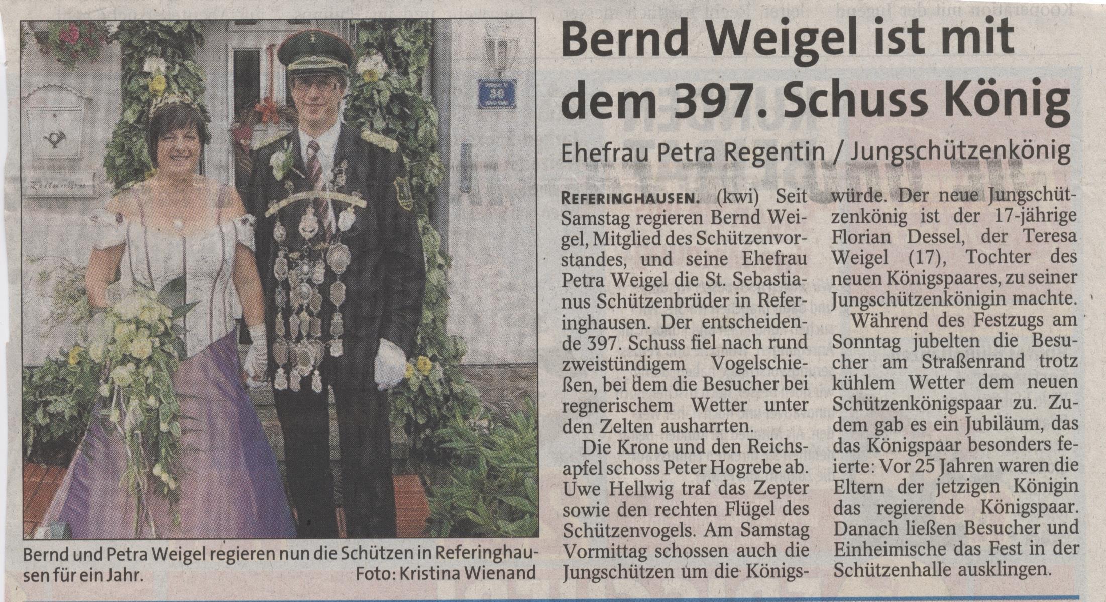 Schützenkönigspaar Bernd und Petra Weigel Zeitungsart.