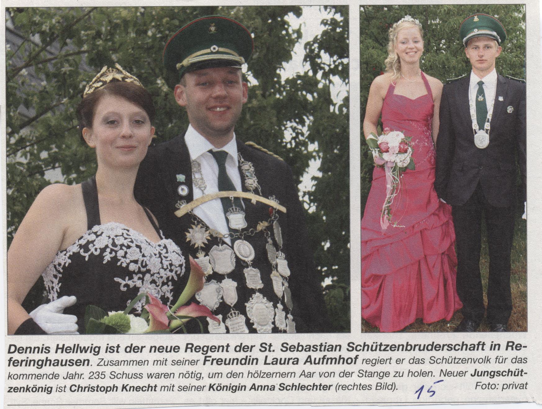 Schützenkönigspaar Dennis und Laura, Jungschützenkönigspaar Chris und Anna