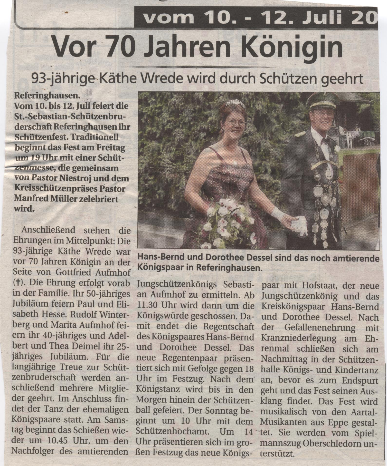 Schützenkönigspaar Hans-Bernd und Dorothee