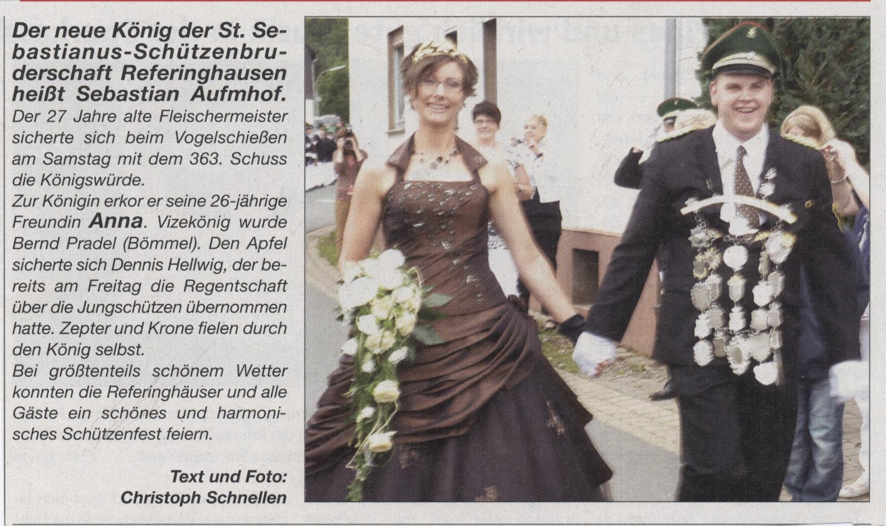 Schützenkönigspaar Sebastian und Anna