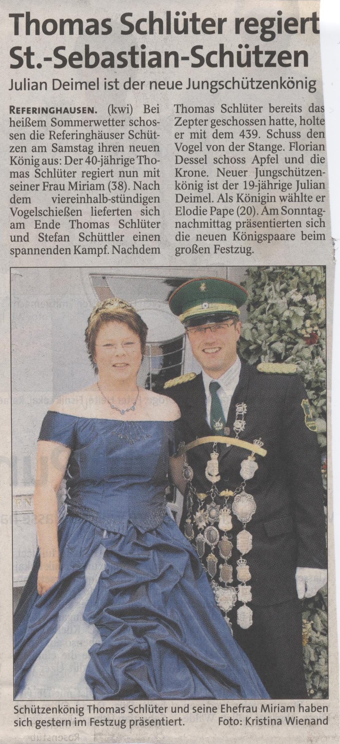 Schützenkönigspaar Thomas und Miriam Schlüter